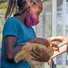 Manuchka Miller holds a chicken Wed., Sept.1 in the chicken coop at Bethany Christian Schools in Goshen.