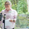The Ashley Van Vurst Sensory Trail Project Manager Theresa Sailor speaks during the ribbon cutting ceremony and grand opening for the trail at Abshire Park.