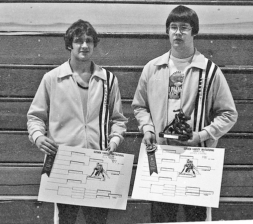 Jan. 18, 1982<br /> Fairfield High School brothers Mike Hofer, left, and Herb Hofer, were winners at the 14th annual wrestling invitational held Saturday at Goshen High School. Mike won the 177-pound class and Herb won the heavyweight division.