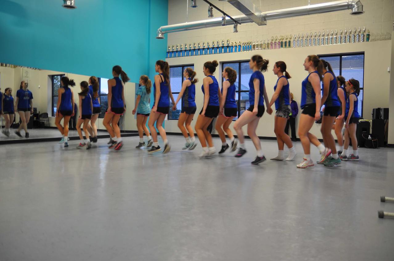 ASHLEY FOX / GAZETTE Students from the O'Hare School of Irish Dance practice together at Spotlight Studio, where they are taught by Eileen O'Kennedy Dunlap.