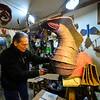 KRISTOPHER RADDER — BRATTLEBORO REFORMER<br /> Art Costa, of Putney, works on a cardboard sculpture inside his studio on Thursday, Nov. 14, 2019.
