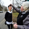 "KRISTOPHER RADDER - BRATTLEBORO REFORMER<br /> Rev. Peggy Yingst, of the Trinity Lutheran Church in Brattleboro, Vt.,  gives ashes to Johanna Woodbury as she jogs by during an ""Ashes to Go"" event on Wednesday, March 1, 2017."