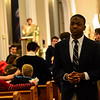 KRISTOPHER RADDER - BRATTLEBORO REFORMER<br /> Rodney Duteau walks down the aisle after Ash Wednesday service on Wednesday, March 1, 2017.