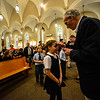 KRISTOPHER RADDER - BRATTLEBORO REFORMER<br /> Bob Arch Deacon, a sacristan for St. Micheal's Roman Catholic in Brattleboro, Vt., gives ashes to Avery Neumeister, a 3rd-grader at St. Micheal's Roman Catholic School, during Ash Wednesday service on Wednesday, March 1, 2017.