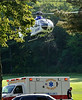 UMass LifeFlight lifts off from Cushing soccer field Ashburnham txp a 60s yr old male who was injured in a single motorcycle crash. SENTINEL&ENTERPRISE/ Jim Marabello
