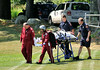 Ashburnham FD paramedics along with UMass LifeFlight crew transport a victim who suffered a fall of more than 10 feet after falling from a roof on Pennacook Dr. The helicopter landed at the Cushing Academy soccer field.