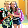 Two Boone Meadow preschoolers pose for a picture for their parents Wednesday morning, Aug. 14.