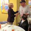 Indiana Lt. Gov. Sue Ellspermann shakes the hand of Kent Esra, owner of Cobblestone Grill, Monday afternoon, Aug. 11. Ellspermann stopped by to have lunch at Cobblestone during her day in Boone County as part of her Listen and Learn Tour.