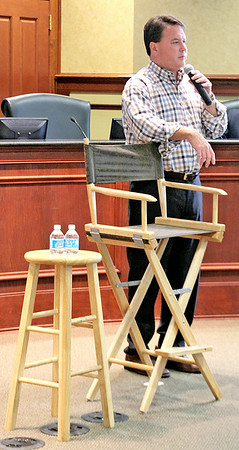 Rod Rose The Lebanon Reporter<br /> Congressman Todd Rokita, R-4th, met with about 50 people Friday afternhoon at a town hall session in the Lebanon Municipal Builidng.