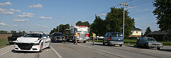THREE CAR ACCIDENT<br /> Elizabeth Pearl | The Lebanon Reporter<br /> CRASH AFTERMATH: Two people were taken to Witham Health Services Thursday after a crash involving a Zionsville Police Car occurred near the Lebanon Business Park. Around 4:50 p.m. Lebanon resident Katherine Gunther, 45, was driving west on State Road 32. Gunther slowed to turn south on North CR 200 West and was then hit from behind by Zionsville Police Officer Aaron Shook, who had also been heading west in a police cruiser. Gunther's car careened into the traffic and was hit again in the rear by a green van that had been driving east, Boone County Sheriff's Office Cpl. Chris Burcham said. Gunther was taken to Witham with a minor head injury, and Shook was taken as well as a matter of protocol, Burcham said. The reason for the crash is not yet known, he said. All three cars were damaged. <br /> The Boone County Sheriff's Office, Center Township Fire Department and Zionsville Police Department were all on the scene.