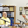 Rod Rose The Lebanon Reporter<br /> THAT'S NOT A PEN: Boone County Commissioners Donnie Lawson (left) and Marc Applegate watch Gracie Dickerson show how the pen she is holding is actually an ecigarette, during her presentation Monday.
