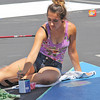 FUTURE GRAD GRAFFITI<br /> Elizabeth Pearl | The Lebanon Reporter<br /> PAVEMENT PAINTING: Kendra Nance, who will be a senior at Lebanon High School this year, painted her parking space outside the school on Friday. Nance slashed the space diagnolly and dedicated the halves to her two favorite musicians: Melanie Martinez and Lana del Rey. The detailed plan included a plam tree and Corvette. With help from her father, Jamie Nance, she hoped to finish by Monday, the last day students can paint their spots before school begins Tuesday.