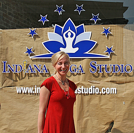 NEW STUDIO: Christine Yokanovich outside her new business, the Indiana Yoga Studio. The studio, at 116 N. Lebanon St., will open Saturday.
