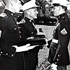 Photo submitted<br /> NAVY CROSS PRESENTATION: Marine Lance Cpl. Richard E. Bogan (right) receives the Navy Cross from Brigadier General Richard P. Kellen in a 1968 ceremony.