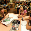 Author Laura Resau, left, brainstorms ideas with sixth-grade students Kyra Hill, middle, and Leanne Newbrook during Resau's writing workshop on Thursday, April 26, at Manhattan Middle School of Arts and Academics in Boulder. For a video of <br /> Jeremy Papasso/ Camera