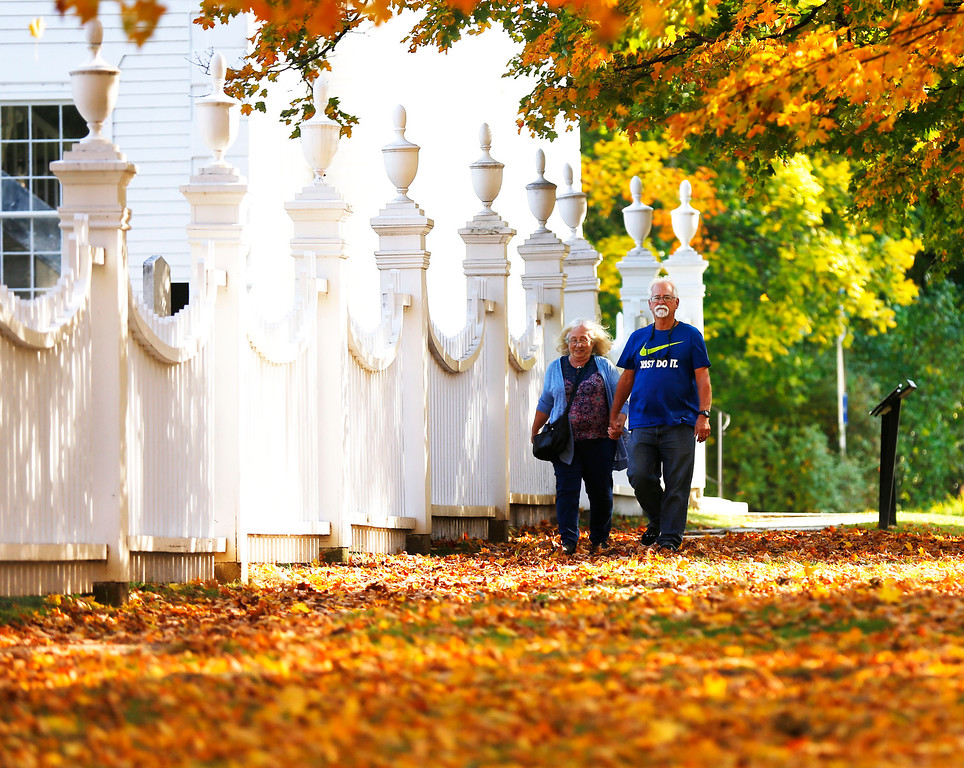 . Holly Pelczynski - Bennington Banner Doris, and Jim Lloyd of Fresno California take a leisurely stroll though Old Bennington to visit the sites. Bennington was one of many stops on their vacation, they have also toured Maine, New Hampshire and Massachusetts.