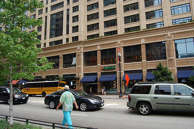 This 7-11 occupies a retail space within a dorm building shared by Roosevelt, DePaul, and Columbia Universities.