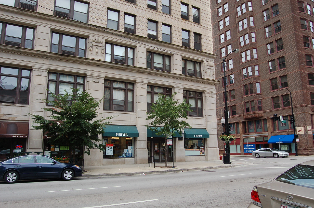 This 7-11 occupies one of the street level retail locations in this 100 year old building in the Printers Row district of Chicago.