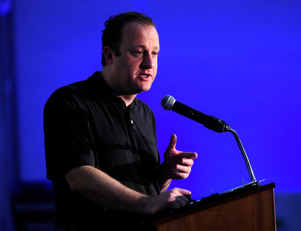"Congressman Jared Polis speaks to a crowd during the ceremony to open a new 90,000-square-foot facility expansion at the Ball Aerospace Fisher Integration Facility in Boulder on Friday January 25, 2013.<br /> For more photos go to  <a href=""http://www.dailycamera.com"">http://www.dailycamera.com</a><br /> Photo by Paul Aiken"