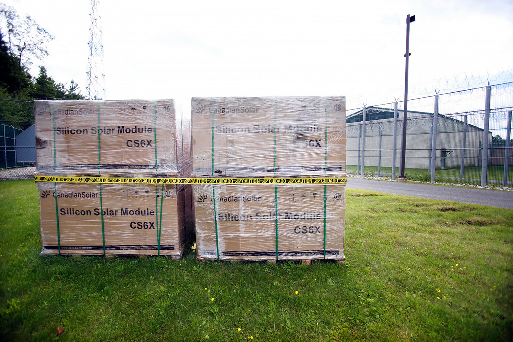 . Solar cells ready to be installed at the Berkshire County House of Correction, that has received a large grant for energy improvement, including a photo voltaic field that is being built on a hill behind the facility. Thursday, August 14, 2014. Stephanie Zollshan / Berkshire Eagle Staff / photos.berkshireeagle.com