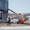 BEN GARVER — THE BERKSHIRE EAGLE<br /> Workers break for lunch at the construction site of the Berkshire Innovation Center.  <br /> The exterior framing of the Berkshire Innovation Center gives shape to the structure in the William Stanley Business Park in Pittsfield, Tuesday, April 2, 2019.