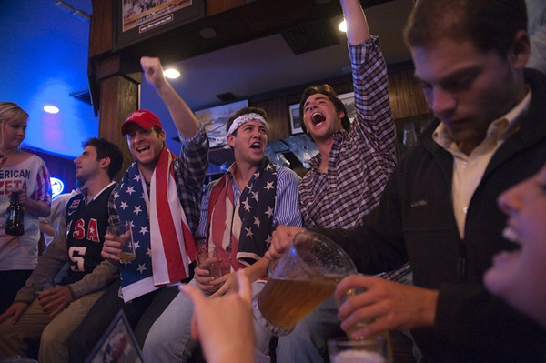 University of Texas at Austin students celebrate the news of Osama bin Laden's death at Cain & Abel's bar late sunday night May 1, 2011.  President Barack Obama announced Sunday night, May 1, 2011, that Osama bin Laden was killed in an operation led by the United States.  (AP Photo/Erika Rich | Daily Texan)