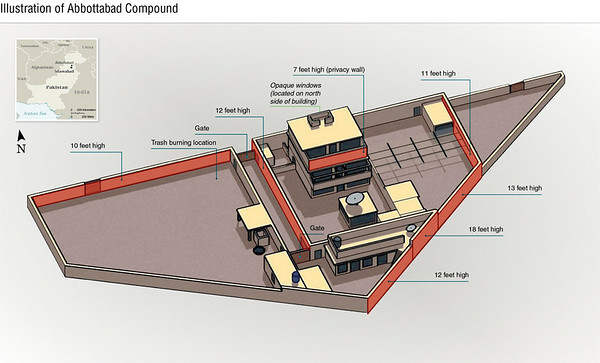 This undated artist rendering handout provided by the CIA shows the Abbottabad compound in Pakistan where American forces in Pakistan killed Osama bin Laden, the mastermind behind the Sept. 11, 2001 terrorist attacks. (AP Photo/CIA)