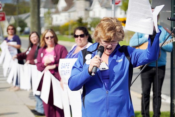 BEN GARVER — THE BERKSHIRE EAGLE<br /> Barbara Connor, RN speaks as Berkshire Medical Center nurses stand out in front of the hospital to rally for patient safety as they continue to negotiate a contract with the hospital.