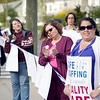 BEN GARVER — THE BERKSHIRE EAGLE<br /> Berkshire Medical Center nurses stood out in front of the hospital to rally for patient safety as they continue to negotiate a contract with the hospital.