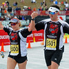 BOLDER<br /> Brenda and Stephen Sargeant of Boston cross the finish line together at the 2011 Bolder Boulder.<br /> PHOTO BY MARTY CAIVANO<br /> May 30,, 1011