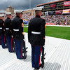 BOLDER<br /> The Marines stand at attention before performing the 21-gun salute during the Memorial Day presentation at the 2011 Bolder Boulder. <br /> Photo by Marty Caivano/May 30, 2011