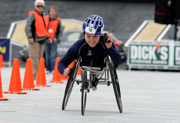 BOLDER<br /> Shirley Reilly wins the women's wheelchair division at the 2011 running of the Bolder Boulder.<br /> PHOTO BY MARTY CAIVANO<br /> May 30,, 1011