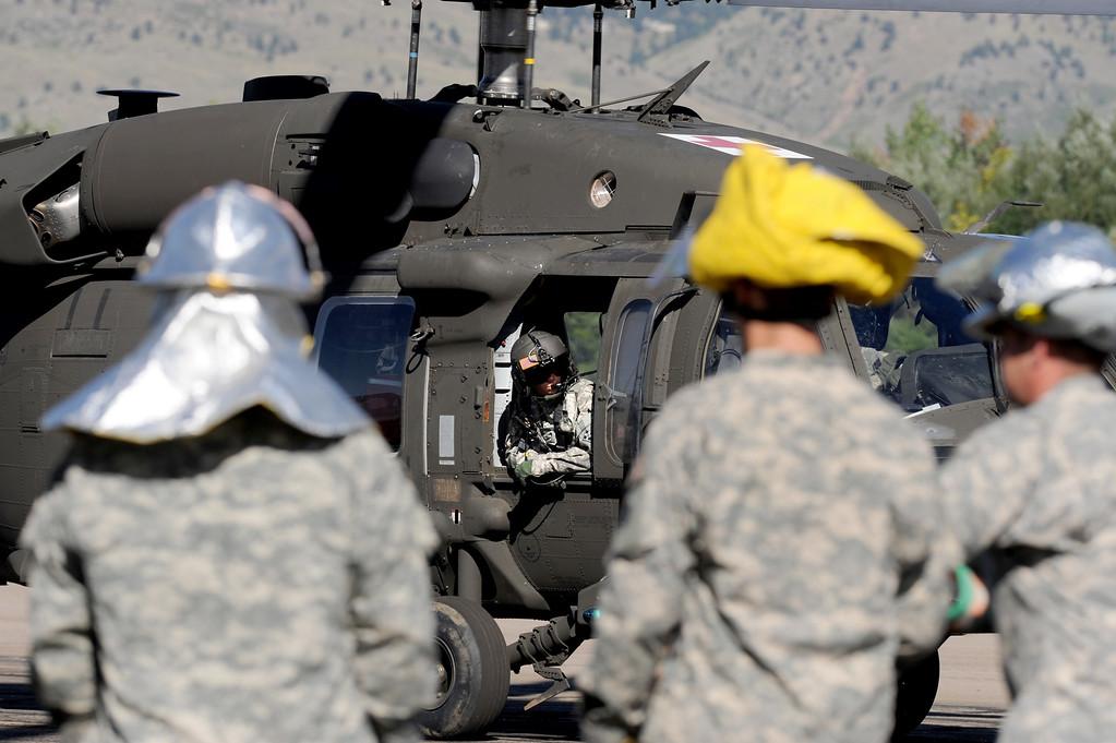 . A medical helicopter lands  at the Boulder Municipal Airport in Boulder, Colorado on September 18, 2013. Cliff Grassmick / September 18, 2013