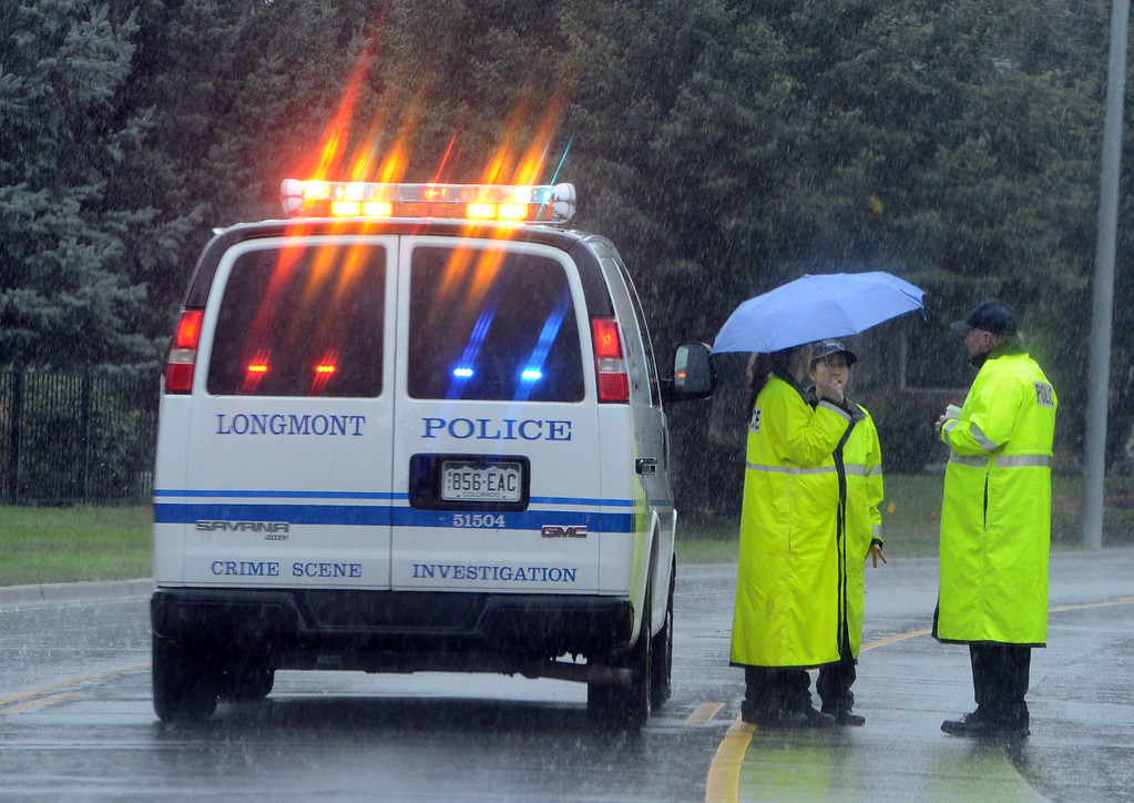 . Longmont Police are patrolling near McIntosh Lake in Longmont, Colorado on September 15, 2013. Cliff Grassmick / September 14, 2013