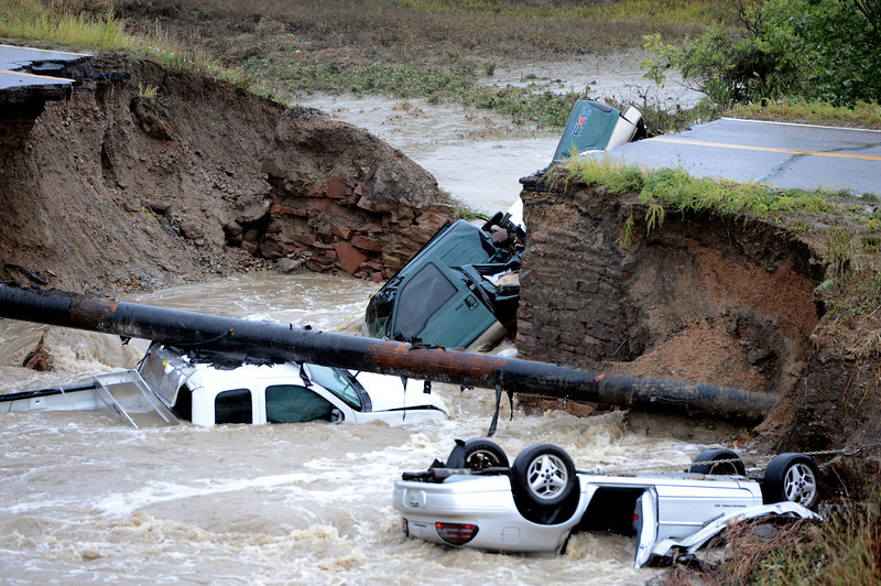 Bridge Out Car in Creek from Rain20  Bridge Out Car in Creek fro