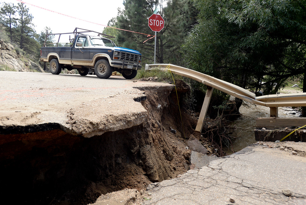 . Sections of flood damaged road on Fourmile Canyon Drive on Tuesday, Sept. 17, in Boulder County. For more photos and video of the flood rescue go to www.dailycamera.com Jeremy Papasso/ Camera