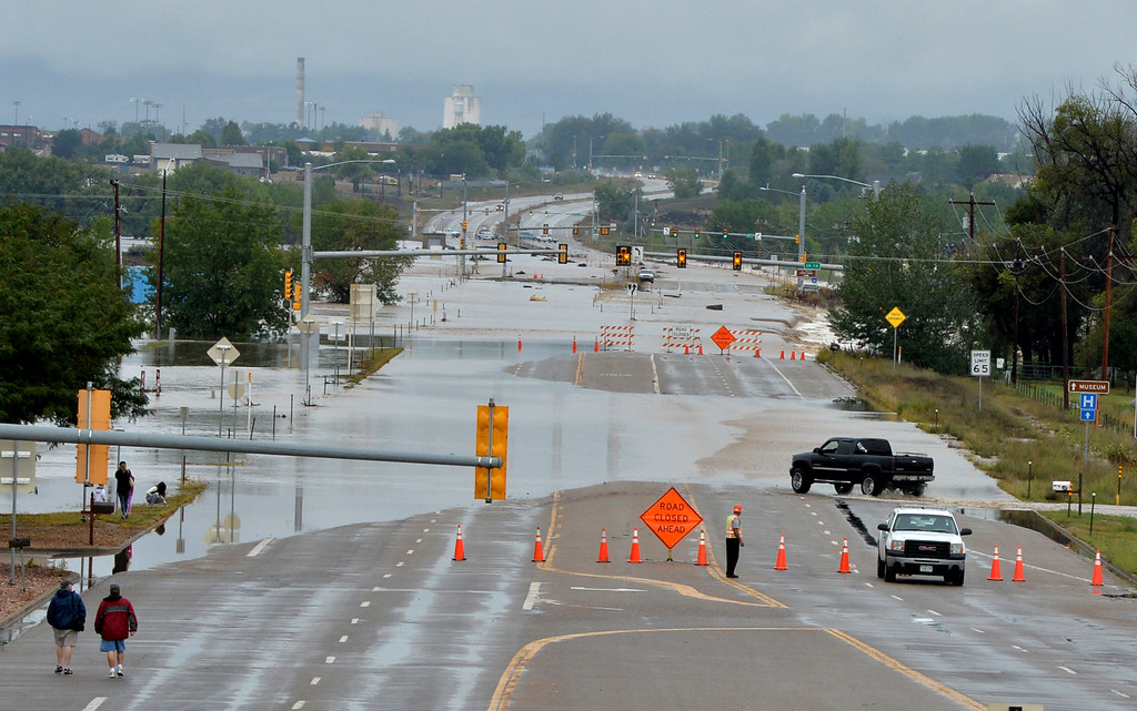 . Flood waters looking west on Colorado 119 from I-25 toward Longmont on Friday.   September 13, 2013 staff photo/ David R. Jennings