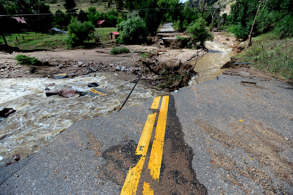 . Wagonwheel Gap Road in Boulder Colorado was washed out by the Fourmile Canyon Creek and several homes nearby were destroyed or heavily damaged. Paul Aiken / The Daily Camera / Monday  September 16, 2013