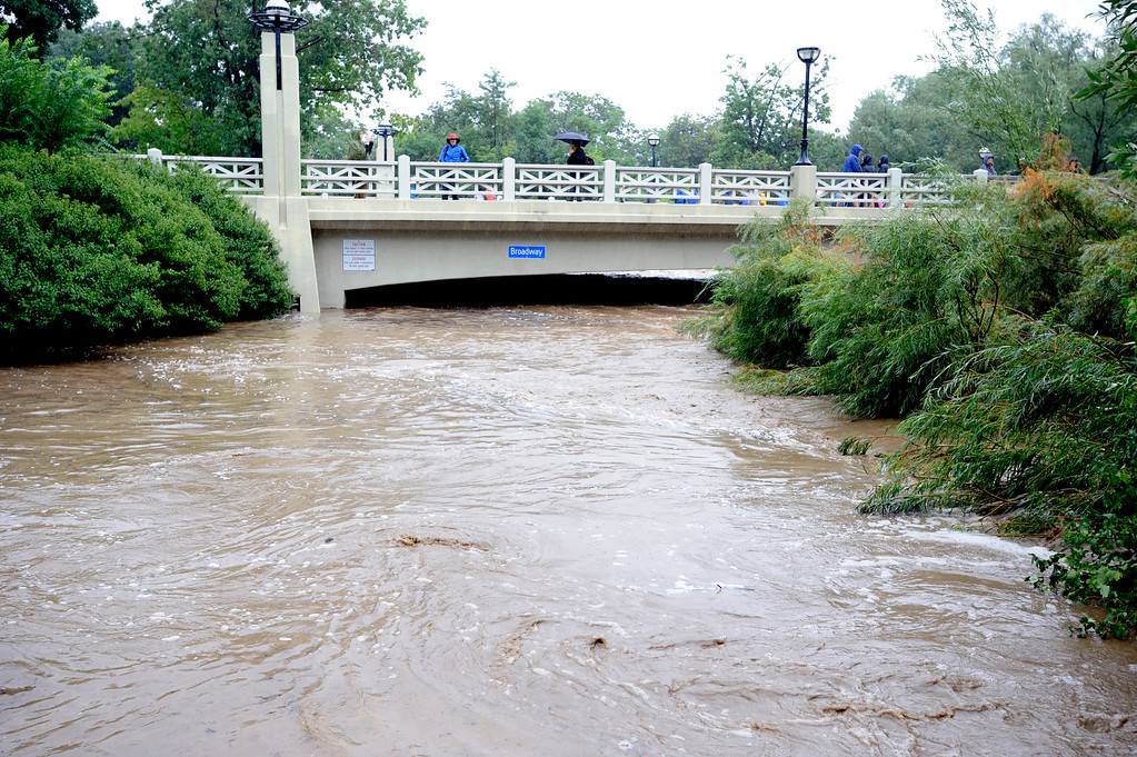 . Boulder creek is flooding at Broadway in Boulder. For more flooding videos and photos, www.dailycamera.com. Cliff Grassmick  / September 12, 2013