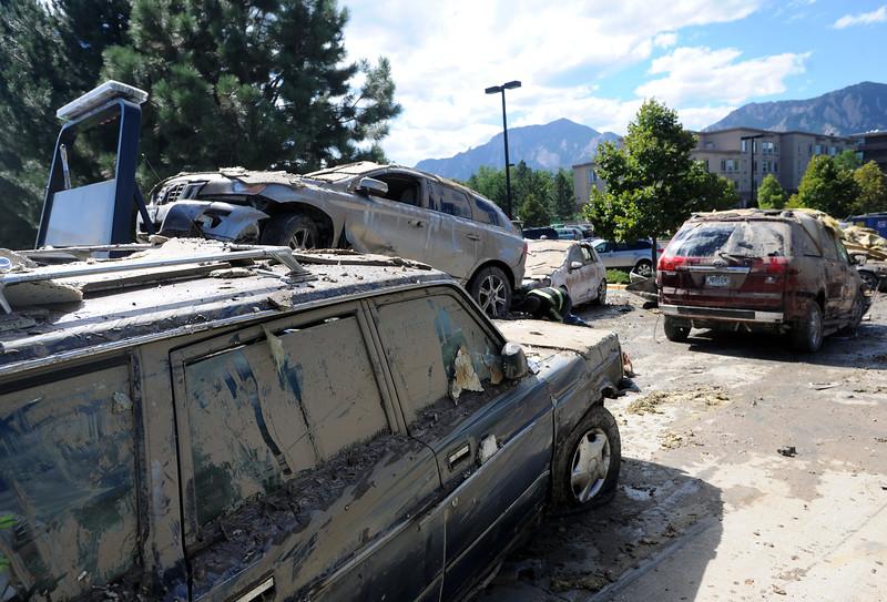 Frasier Meadows Cars Totaled from Flood