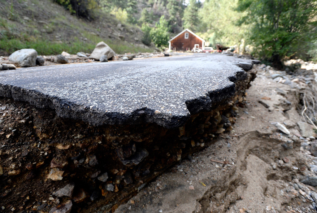 . Fourmile Canyon Drive is seen destroyed on Tuesday, Sept. 17, in the town of Salina. For more photos and video of the flood rescue go to www.dailycamera.com Jeremy Papasso/ Camera
