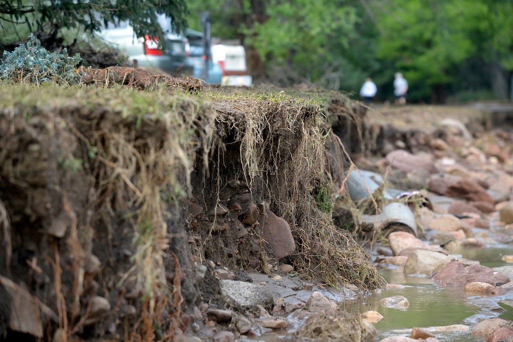 . The road on Topaz Drive in Boulder is completely destroyed on Saturday, Sept. 14, in Boulder. For more photos and video of the flood rescue go to www.dailycamera.com Jeremy Papasso/ Camera
