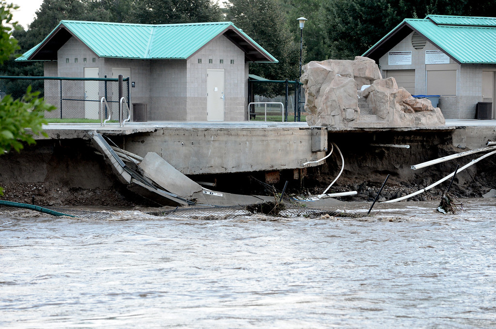 . Part of the kids pool at Kanemoto Park  has been swept away from the flooding of Lefthand Creek in Longmont, CO,  on September 14, 2013. Cliff Grassmick / September 14, 2013