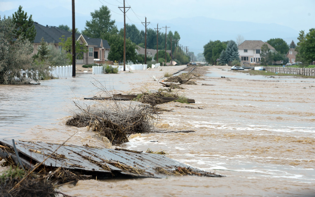 . Railroad tracks running North and South at 9th Street, East of Airport Road, continue to be flooded  Saturday afternoon in Longmont, Colorado, on September 14, 2013. Cliff Grassmick / September 14, 2013