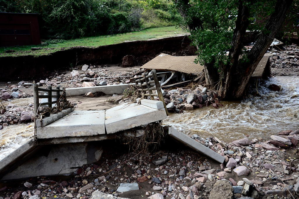 . A heavily damaged home along the Fourmile Canyon Creek on Lee Hill Drive in Boulder Colorado Paul Aiken / The Daily Camera / Monday  September 16, 2013