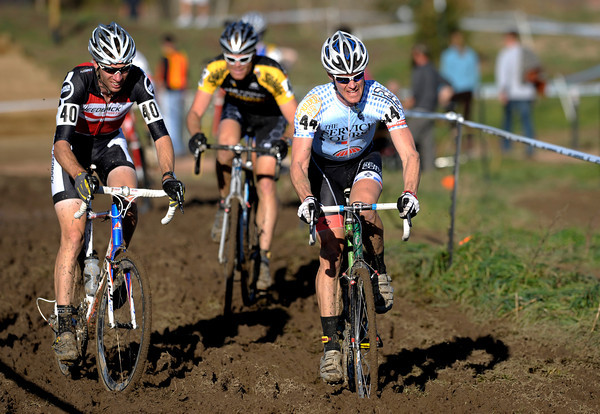 "1030CUP4.jpg Ken Benesh (left) and Michael Friedberg (right) race through the mud during the Men's Elite race of The Boulder Cup at the Valmont Bike Park in Boulder, Colorado October 30, 2011.  CAMERA/Mark Leffingwell<br /> <br /> Watch video from The Boulder Cup at  <a href=""http://www.dailycamera.com"">http://www.dailycamera.com</a>"