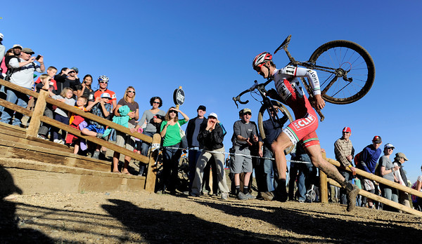 "1030CUP11.jpg Mitchell Hoke runs up the stairs during the Men's Elite race of The Boulder Cup at the Valmont Bike Park in Boulder, Colorado October 30, 2011.  CAMERA/Mark Leffingwell<br /> <br /> Watch video from The Boulder Cup at  <a href=""http://www.dailycamera.com"">http://www.dailycamera.com</a>"