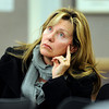 "Boulder resident Brenda Love Bennett watches the television monitor while listening to Boulder Police chief Mark Beckner speak about the elk killed by police on Mapleton Hill during a city council meeting on Tuesday, Jan. 8, at the Boulder Municipal building in Boulder. For a video of the dead elk topic at the meeting go to  <a href=""http://www.dailycamera.com"">http://www.dailycamera.com</a><br /> Jeremy Papasso/ Camera"