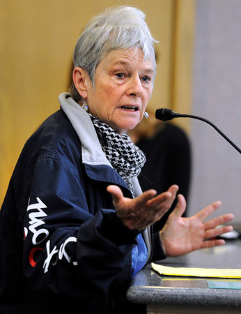 """Boulder resident Gwen Dooley expresses her anger to Boulder Police chief Mark Beckner about the elk killed by police on Mapleton Hill during a city council meeting on Tuesday, Jan. 8, at the Boulder Municipal building in Boulder. For a video of the dead elk topic at the meeting go to  <a href=""""http://www.dailycamera.com"""">http://www.dailycamera.com</a><br /> Jeremy Papasso/ Camera"""