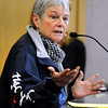 "Boulder resident Gwen Dooley expresses her anger to Boulder Police chief Mark Beckner about the elk killed by police on Mapleton Hill during a city council meeting on Tuesday, Jan. 8, at the Boulder Municipal building in Boulder. For a video of the dead elk topic at the meeting go to  <a href=""http://www.dailycamera.com"">http://www.dailycamera.com</a><br /> Jeremy Papasso/ Camera"
